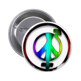 Peace Male and Female Symbols 6 Cm Round Badge