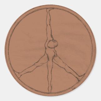 Peace Man bronze round button Round Sticker