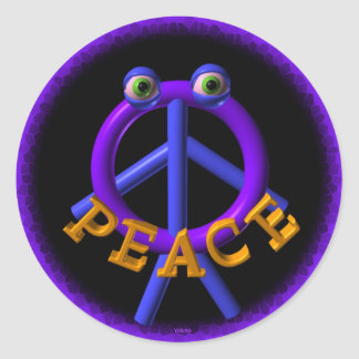 Peace man is funnier than war round sticker