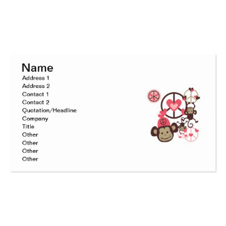 Peace Monkey Double-Sided Standard Business Cards (Pack Of 100)