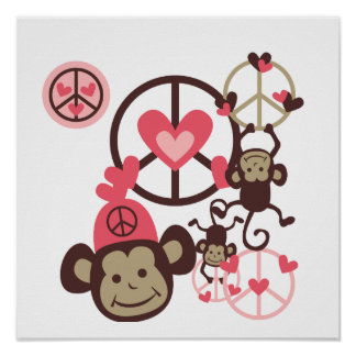Peace Monkey Poster