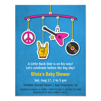 Peace Music Guitar Rock and Roll Baby Shower 11 Cm X 14 Cm Invitation Card