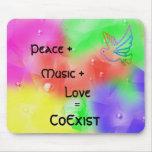 Peace, Music, Love=CoExist Mousepad