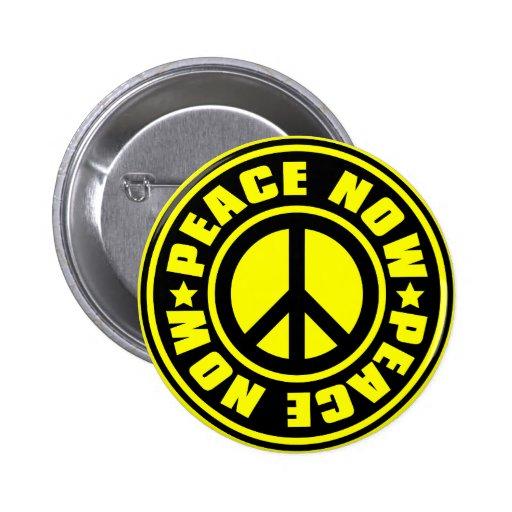 PEACE_NOW 6 CM ROUND BADGE