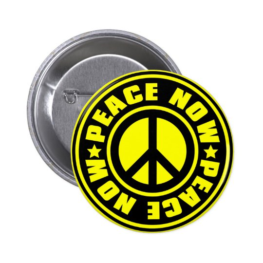 PEACE_NOW 6 CM ROUND BADGE