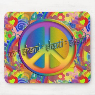 Peace Om Shanti | flower power Mouse Mat