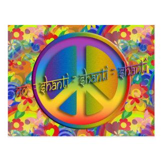 Peace Om Shanti   flower power Postcard