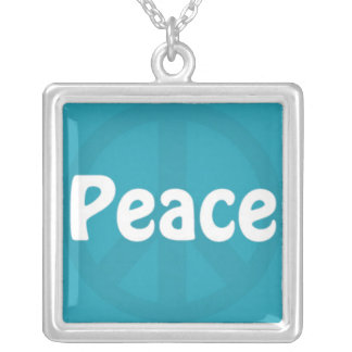Peace on Blue Peace Sign Square Pendant Necklace