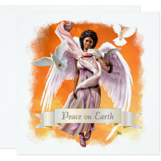 Peace on Earth. Afro Angel Flat Christmas Cards 13 Cm X 13 Cm Square Invitation Card