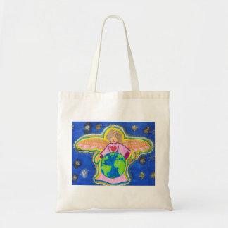 Peace on Earth, Angel, Universe, Stars, Tote Bag