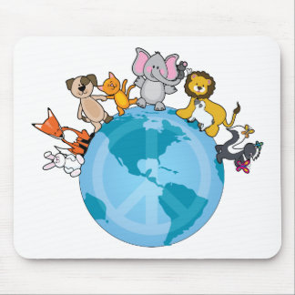 Peace On Earth Animals Mouse Mat