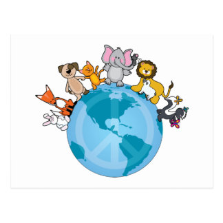 Peace On Earth Animals Post Cards
