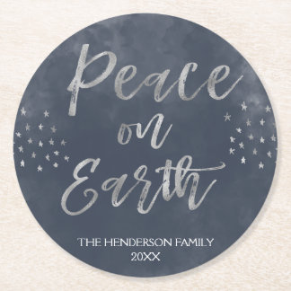 Peace on Earth Blue and Silver Watercolor Coaster