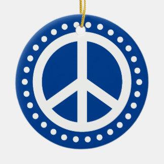 Peace on Earth Blue and White Polka Dot Christmas Ornament