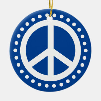 Peace on Earth Blue and White Polka Dot Round Ceramic Decoration