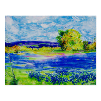 peace on earth Bluebonnet Fields Postcard