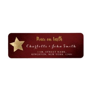 Peace on Earth Burgundy Golden Star Adress