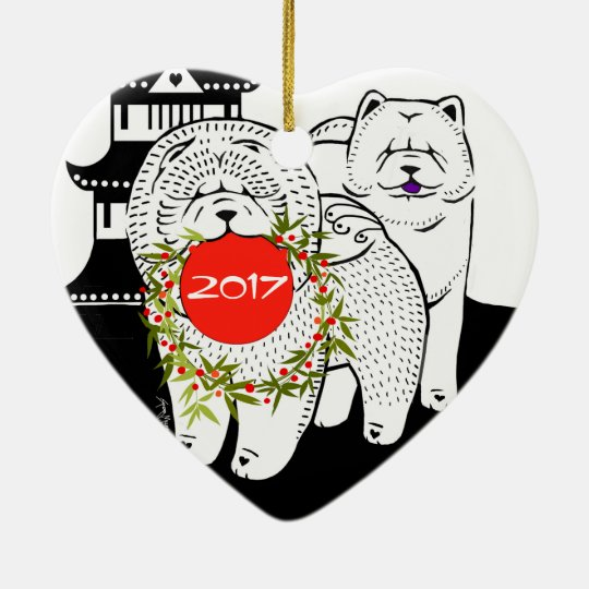 PEACE ON EARTH - Chow heart ornament-front/back Christmas