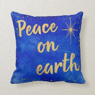 Peace on Earth Christmas Blue and Gold Cushion