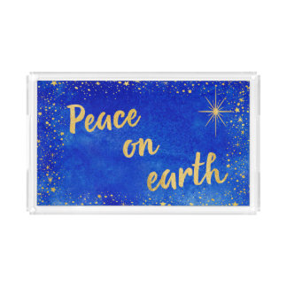 Peace on Earth Christmas Blue and Gold Rectangle Acrylic Tray