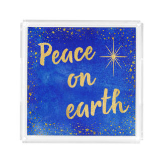 Peace on Earth Christmas Blue and Gold Square Acrylic Tray