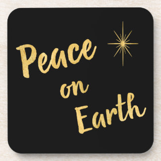 Peace on Earth Christmas Goldfoil on Black Coaster