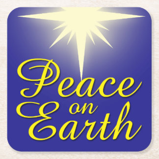 Peace on Earth Christmas Star Coaster