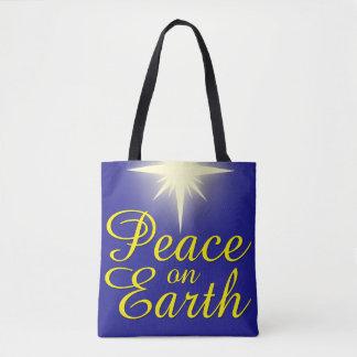 Peace on Earth Christmas Star Holiday Tote Bag