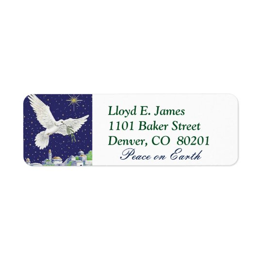 Peace on Earth Dove Christmas Return Address Label