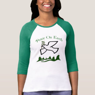Peace On Earth Dove Holiday 3/4 Sleeve T-Shirt