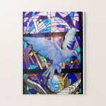 Peace on earth Dove stained glass Jigsaw Puzzle