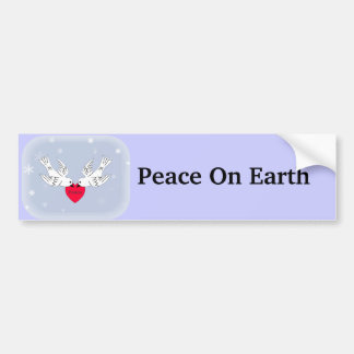 Peace on Earth Doves Heart Snowflakes Bumper Sticker