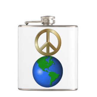 Peace on Earth Fun Rebus Style Word Puzzle Hip Flask