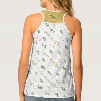 Peace on Earth Gold & Green Watercolor Pattern Tank Top