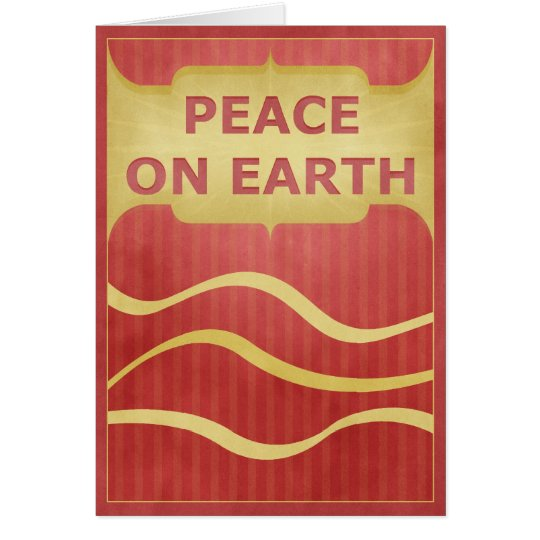 Peace on Earth Gold & Red Simple Elegant Greeting Card