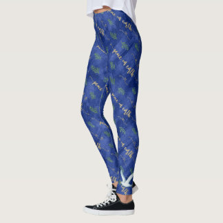 Peace on Earth Gold Typography Blue Watercolor Leggings