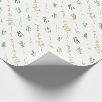 Peace on Earth Green and Gold Watercolor Pattern Wrapping Paper