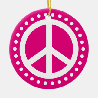 Peace on Earth Hot Pink and White Polka Dot Round Ceramic Decoration
