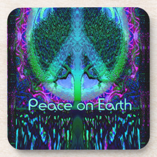 Peace on Earth in Blue and Purple Drink Coaster