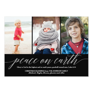 Peace On Earth Luke 2:14 Verse Holiday 3-Photo Card