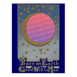 Peace on Earth Moon & Stars Xmas Frame Postcard