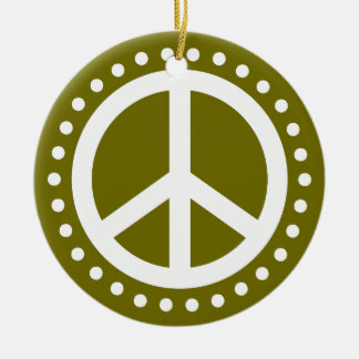 Peace on Earth Olive Green and White Polka Dot Round Ceramic Decoration