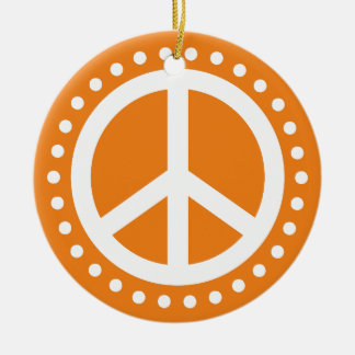 Peace on Earth Orange and White Polka Dot Round Ceramic Decoration