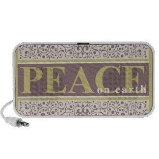 Peace on Earth Ornate Gold Purple Cream Christmas iPhone Speaker