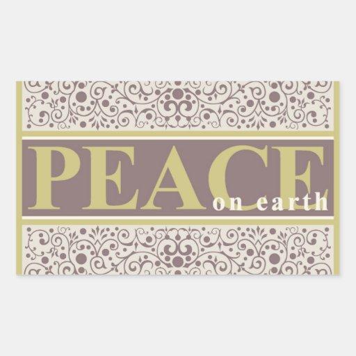 Peace on Earth Ornate Gold Purple Cream Christmas Rectangle Sticker