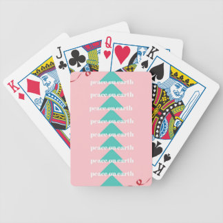 peace on earth print bicycle playing cards