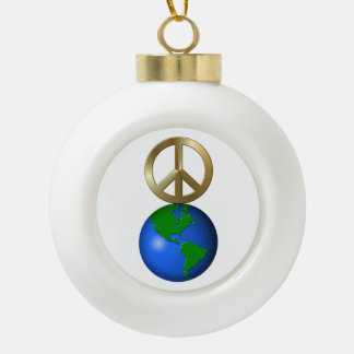 Peace on Earth Rebus Word Puzzle Ceramic Ball Decoration