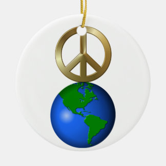 Peace on Earth Rebus Word Puzzle Round Ceramic Decoration