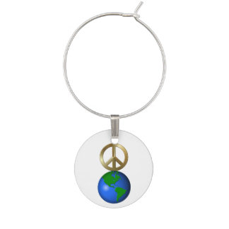 Peace on Earth Rebus Word Puzzle Wine Glass Charms