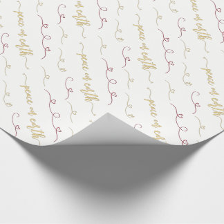 Peace on Earth Red and Gold Watercolor Pattern Wrapping Paper